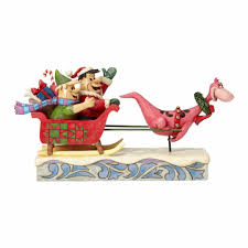 Barney Christmas Ornament 4058331 Flintstones Christmas Sleigh Ride Jim Shore Hanna Barbera