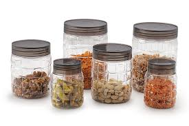 Clear Plastic Kitchen Canisters Cello Checkers Plastic Pet Canister Set 18 Pieces Clear