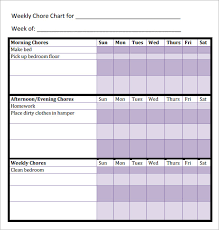 sample chore chart 9 documents in word excel pdf