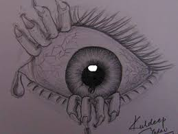 Creepy Halloween Poem Drawing Of Scary Eye With Sad Hindi Poem Kuldeep Yadav Global