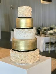 5 tier wedding cake rozanne s cakes 5 tier gold and black wedding cake