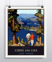 wedding gift personalized custom wedding gift personalized lake tahoe wedding poster