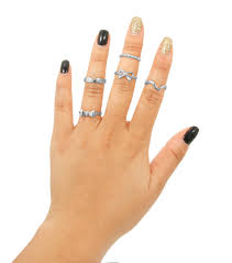 midi ring set midi rindg set 5 pcs silver tone midi rings stacking rings set