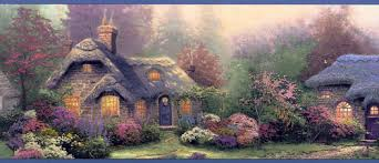 kinkade cottage wall paper border wallpaper border