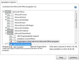 install the microsoft office organization chart add in office