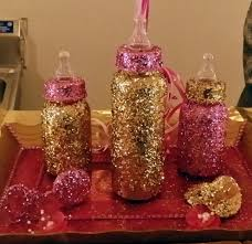 three piece glitter bottle set with pacifier and rattle baby