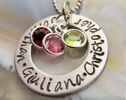 Custom Birthstone Necklace Mothers Necklace