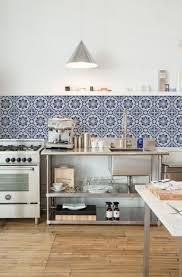 Backsplash Tile Kitchen Ideas Stylish Blue Printed Backsplash Tiles With Bamboo Floor For
