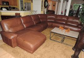 Triple Recliner Sofa by Macy U0027s Cognac Leather Triple Reclining Theater Sectional We Ship