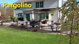 patio with fire pit u0026 pergola awning outdoor living expert youtube