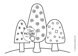 three trees coloring page nature coloring page for kids