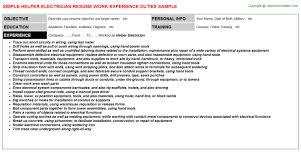 Electricians Resume Top 8 Helper Electrician Resume Samples In This File You Can Ref
