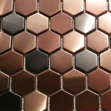 hexagon mosaics tile copper rose gold color black stainless steel