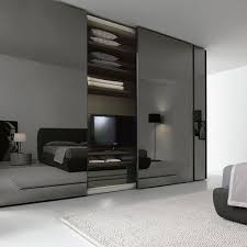 Sliding Glass Mirrored Closet Doors Lacquered Wooden Wardrobe With Sliding Doors Segmenta New By