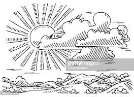 beautiful landscape sun and clouds drawing vector art getty images