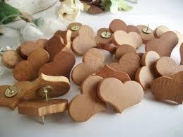 50 wooden heart thumb tacks push pins maple wood for wedding