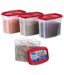 primeway kitchen storage food containers 4 pcs set red 1000ml
