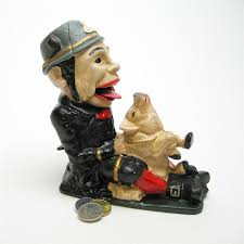 paddy and the pig collectors u0027 die cast iron mechanical coin bank
