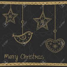 Black And Gold Christmas Tree Decorations Greeting Card With Gold Christmas Tree Decoration On Black
