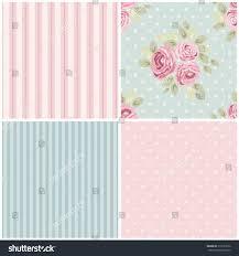 Kitchen Wallpaper Design Set Cute Seamless Shabby Chic Patterns Stock Vector 313723376