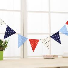 5 sets non woven flag fabric bunting banner nursery decor red blue