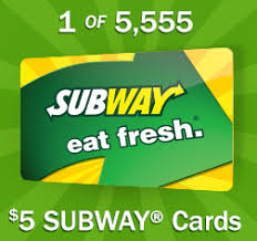 5 dollar gift cards free 5 subway gift card 5 555