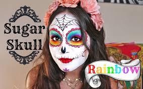 rainbow sugar skull tutorial for halloween youtube