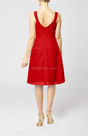 red bridesmaid dress plain thick straps sleeveless chiffon knee