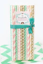 pink and gold party supplies vintage girl party supplies mint and pink party pink paper straws