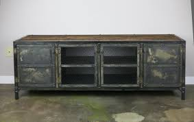 Urban Modern Design by Vintage Industrial Media Console Credenza Reclaimed Wood Top