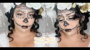 Sugar Skull Halloween Makeup Glam Sugar Skull Tutorial Halloween Makeup Youtube
