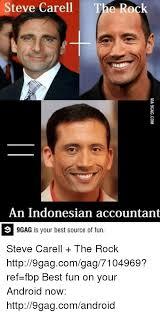 Best 9gag Memes - steve carell the rock an indonesian accountant 9 9gag is your best