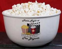 personalized bowl handmade personalized popcorn bowl etsy