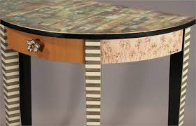 DemiLune Hall Table TangerineRose From Suzanne Fitch Handpainted - Designer hall tables