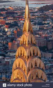 detail of the art deco crown and spire of chrysler building in