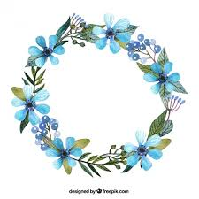 wreath with blue flowers free vector floral background