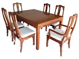mid century style asian teak dining set chairish