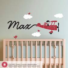 airplane decal boy name skywriter children nursery boy wall art
