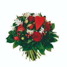 composition florale avec des roses bouquet rond rouge et blanc plein de tendresse avec roses rouges