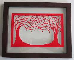 One Of A Kind Home Decor by Valentines Day Gift 2 Trees Of Life Red Silhouette Paper Cut