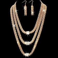 crystal chain necklace images 3 row micro pave ball crystal chain necklace earrings set gold jpg
