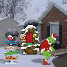 grinch stealing christmas lights grinch stealing christmas lights lair pole yard decor