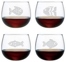 fish assortment stemless wine glasses 13 oz set of 4 beach