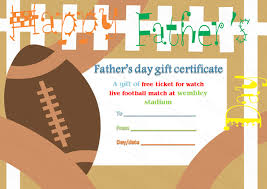football theme father u0027s day gift certificate template