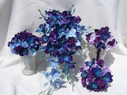 blue and purple orchids diana s silk cascade bridal bouquet with blue and purple orchids