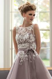 dusty wedding dress dusty purple bridesmaid dress with white lace tea length v back