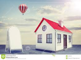 white house with red roof and sidewalk sign stock illustration