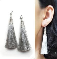 invisible earrings silver tassel clip on earrings tassel invisible clip on