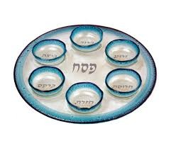 sader plate fused glass passover seder plate by itay mager ajudaica
