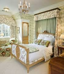 Country Bed Frame Floral Wallpaper And Ornate Wooden Bed Frame Using Chic Canopy Bed